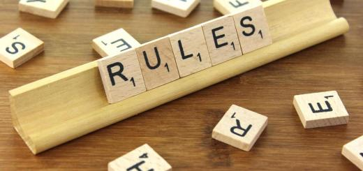 wooden tiles spelled out saying Rules
