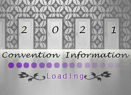 image of four doors on the wall 2021 written across the doors, on the floor beneath Convention Information loading, then a gradient of dots going from left (dark) to right (lighter)