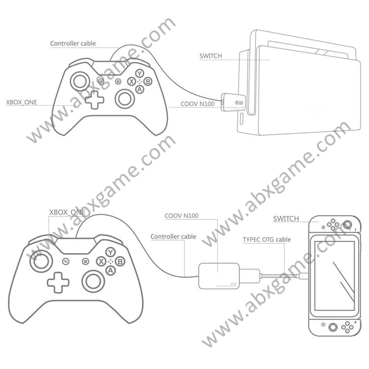 PS4 PS3 Xbox 360 One Gamepad Joystick Adapter for Nintendo