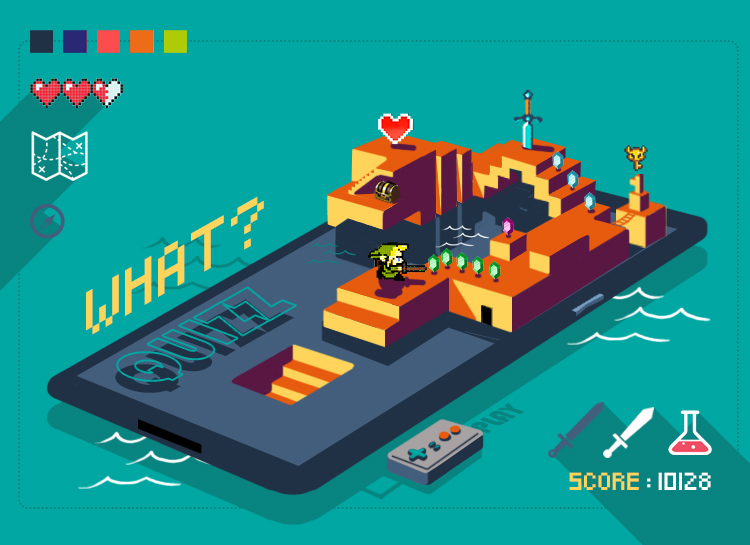 abys-illustration-lyon- art directior isometry seriousgame digital quizz link