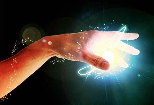 hand touching energy