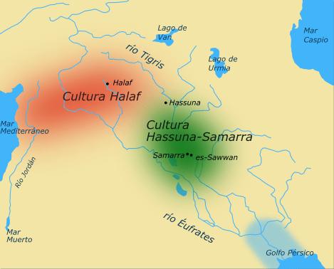 map of the Halaf-Hassuna-Samarra cultures