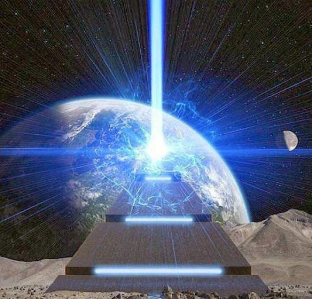 extraplanetary pyramid energy beam