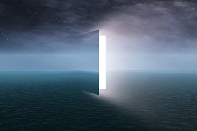 27406350 - door to heaven with stars
