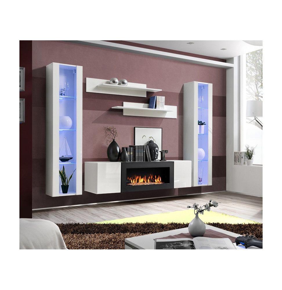 ensemble mural fly m 1 meuble tv 2 vitrines verticales led 2 etageres murales blanc modele 1