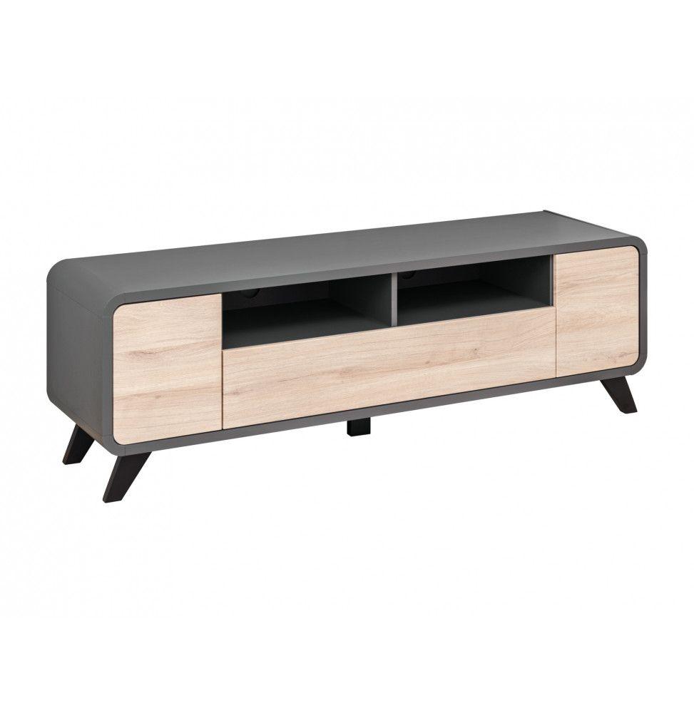 meuble tv round l 160 x p 45 x h 52 cm beige et gris anthracite