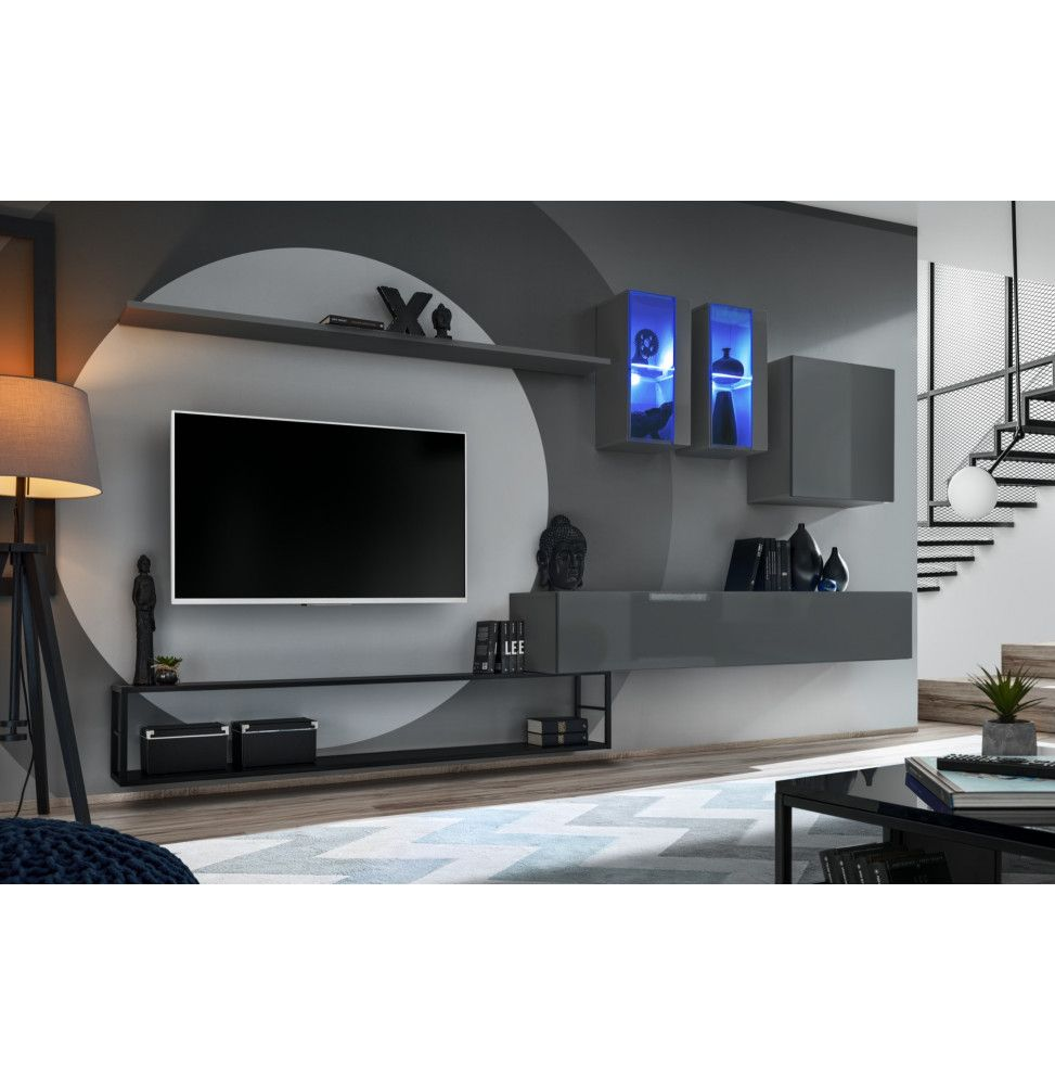 ensemble meuble tv mural switch met i l 330 x p 40 x h 180 cm gris
