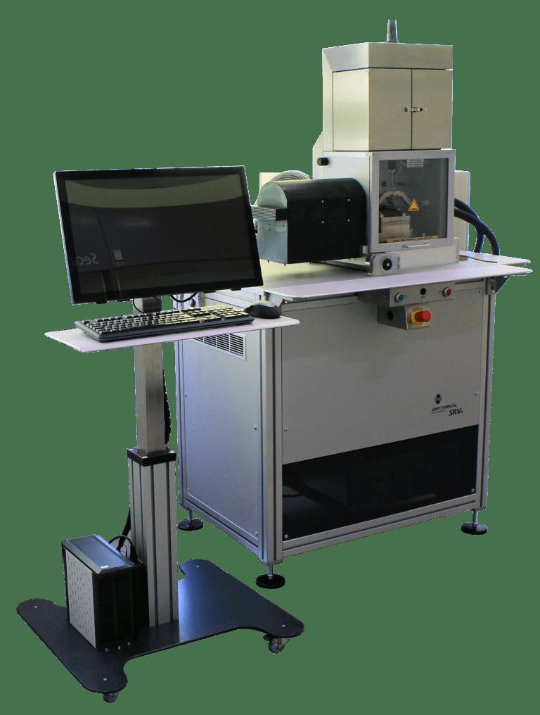 Schwing-Reib-Verschleiß Tribometer (SRV5) mit schwenkbarer und klimatisierbarer Testkammer