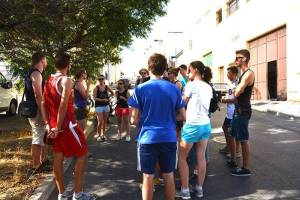Explanation of the local economic activities in Prado del Rey on the first day of the Spanish course