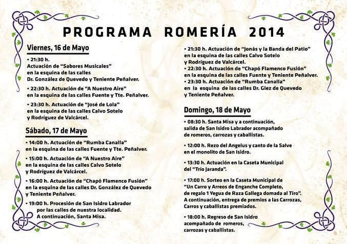 Actuaciones y conceriertos Romeria Prado del Rey Sierra de Cadiz