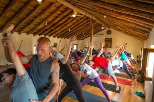 yoga class in the Spanish & Yoga program