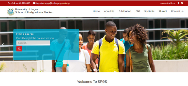 UNILAG Postgraduate Course Search Page