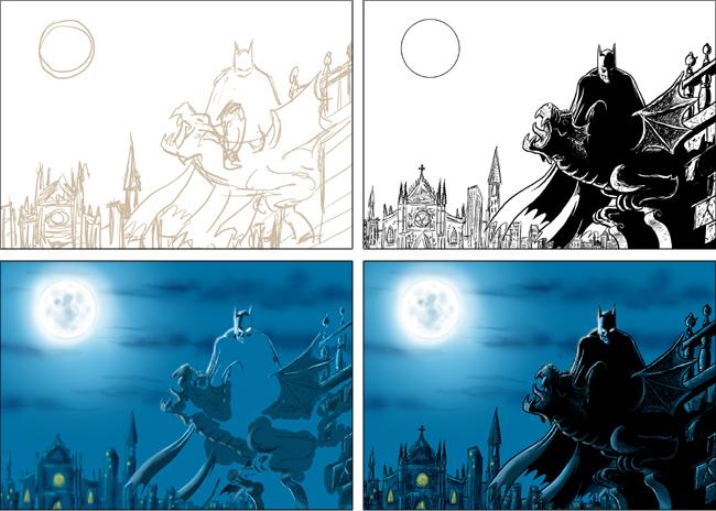 Ilustración de Batman realizada en adacemia c10