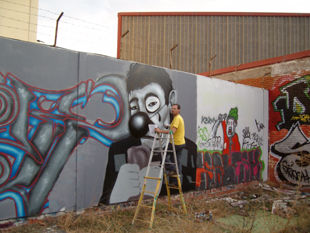 David guardia en accion. Grafitti.