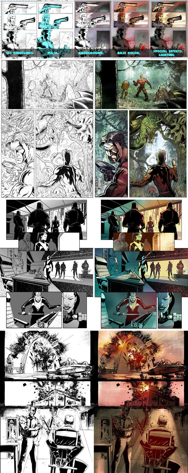 Color digital de paginas de comic. Robocop. Academia 10.