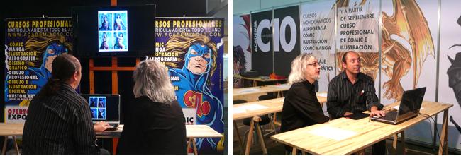 Luis Royo  en los curso cursos de aerografia, ilustracion y comic  de la Academia c10 de Madrid.por Carlos Diez.