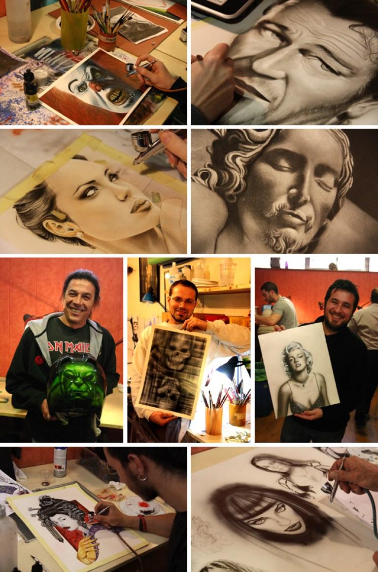 Trabajos de los curso cursos de aerografia, ilustracion y comic en academia C10 de Madrid. Carlos Diez.