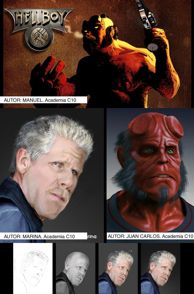 Hellboy en Academia c10. Cursos de ilustracion digital, aerografia, comic y manga.