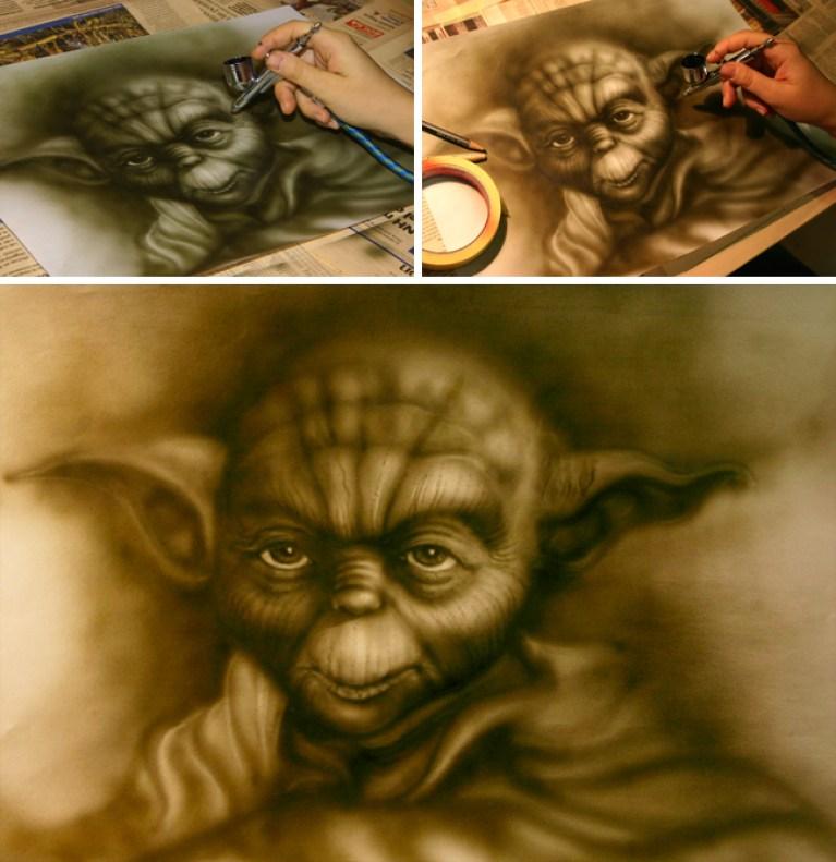 Yoda en los cursos de aerografia de academia c10.