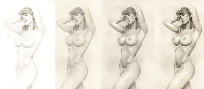 Sandra Galera. Tutorial. Ginoyde. Ilustracion en aerografia por Carlos Diez. Trabajo con aerografo.