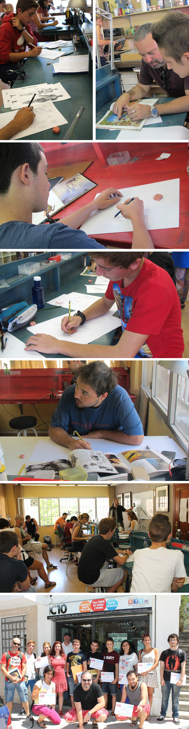 alumnos-curso-intensivo-verano-comic-trabajando-mariano-saura-anual-dibujar-dibujo-ilustracion-madrid