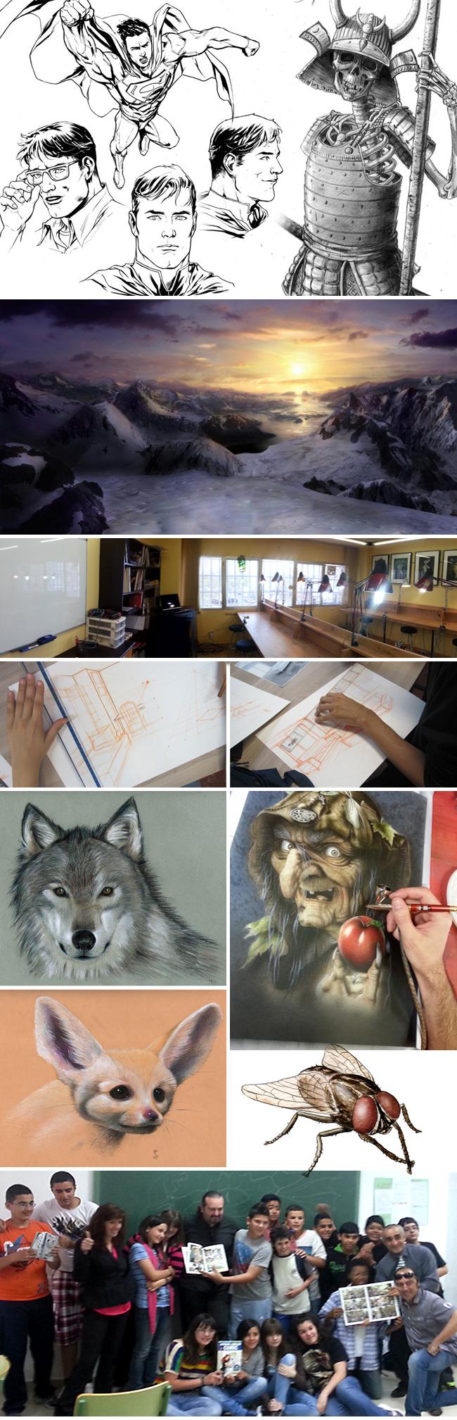 Trabajos de alumnos de de los curso-cursos-profesionales en Academia C10.Madrid-Dibujo-comic-aerografia-ilustracion-arte digital-fx-maquillaje-1