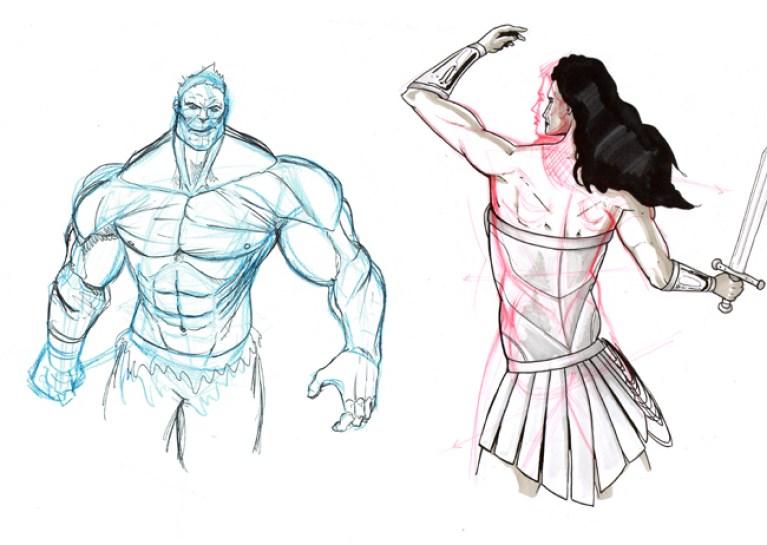 Nuevos trabajos de anatomía en el Curso de dibujo de Academia C10