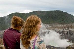 Spanish school students visiting Poás Volcano National Park