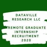Dataville Research LLC Remote Graduate Internship Recruitment 2020