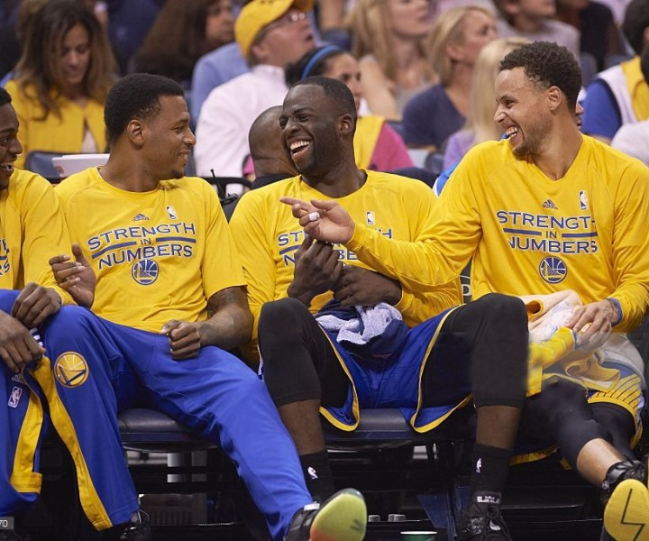 Basketball: NBA Playoffs: Golden State Warriors (L-R) Justin Holiday, Brandon Rush, Draymond Green and Stephen Curry laughing on bench during game vs Memphis Grizzlies at FedEx Forum. Game 6.