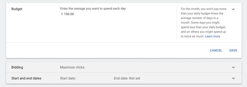 google ads options: budget, bidding and location