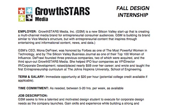 GrowthSTARS Paid Design Internship Posting