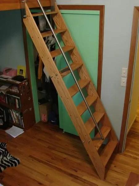 Custom Ship Ladders Narrow Alternating Tread Stair Acadia Stairs | Prefab Oak Stair Treads | Hardwood Flooring | Wood Flooring | Wood Stair | Solid Oak | Risers