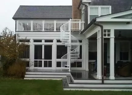 Outdoor Spiral Stairs Exterior Staircases In Ct Nyc Acadia | Spiral Staircase Outdoor Deck | Outside Deck | Built Spiral Stair | Balcony Outdoor | Log | 3 Storey