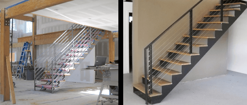 Double Stringer Steel Staircases With Wood Treads In Nyc Ct | Steel Stair Stringer Design | Exterior | Free Standing | Indoor | Modern | Staircase Bar Length