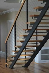 Double Stringer Steel Staircases with Wood Treads in NYC ...