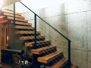 Floating Stairs Single Stringer Staircases In Nyc Ct Acadia | Cast Iron Straight Staircase | Raw Iron | Dark Stain | Handle | Luxury | Spindle