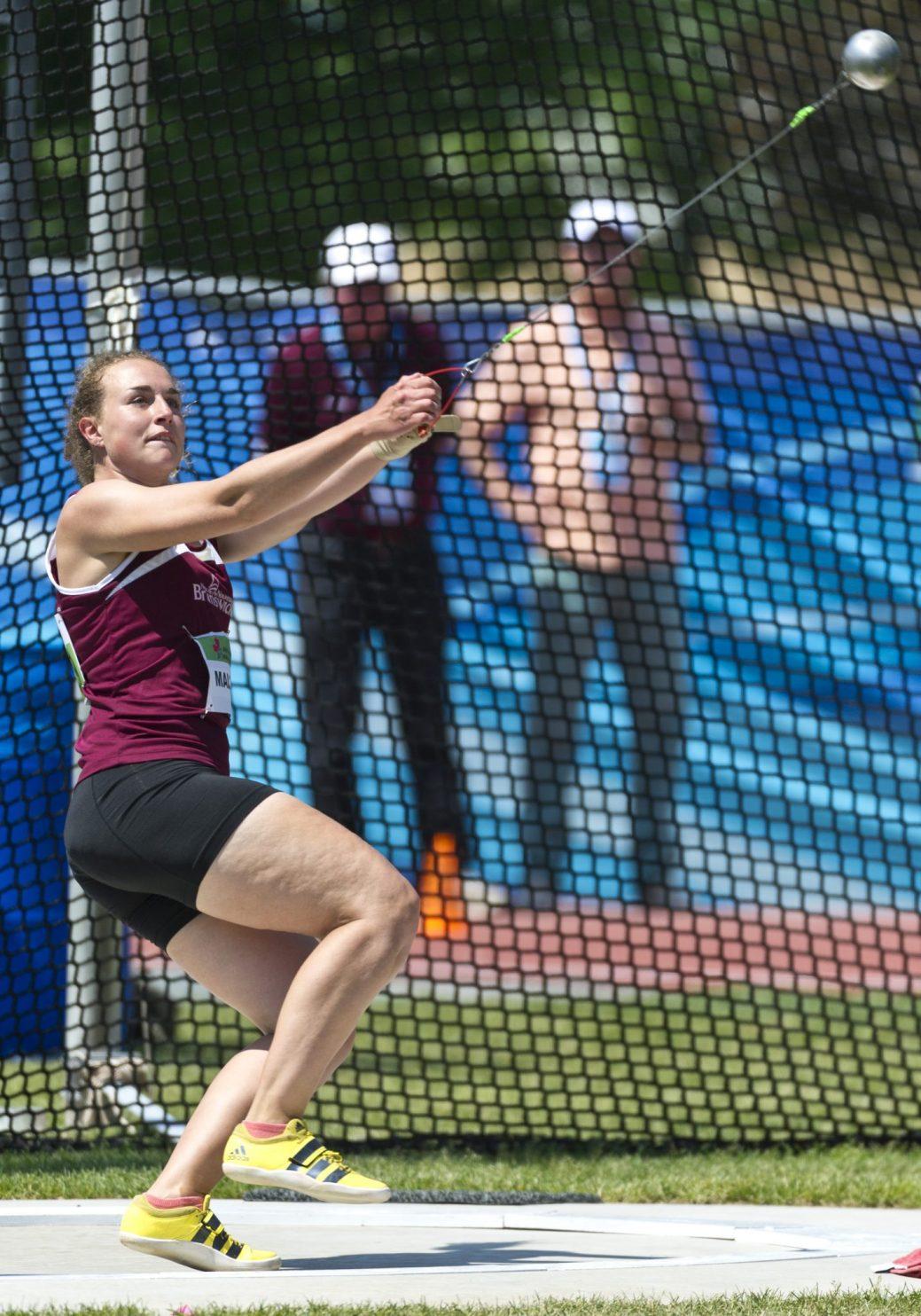 Naomie Maltais a terminé au 10e rang en finale féminine du lancer du marteau à Ottawa, avec un tir de 50,74m. - Archives