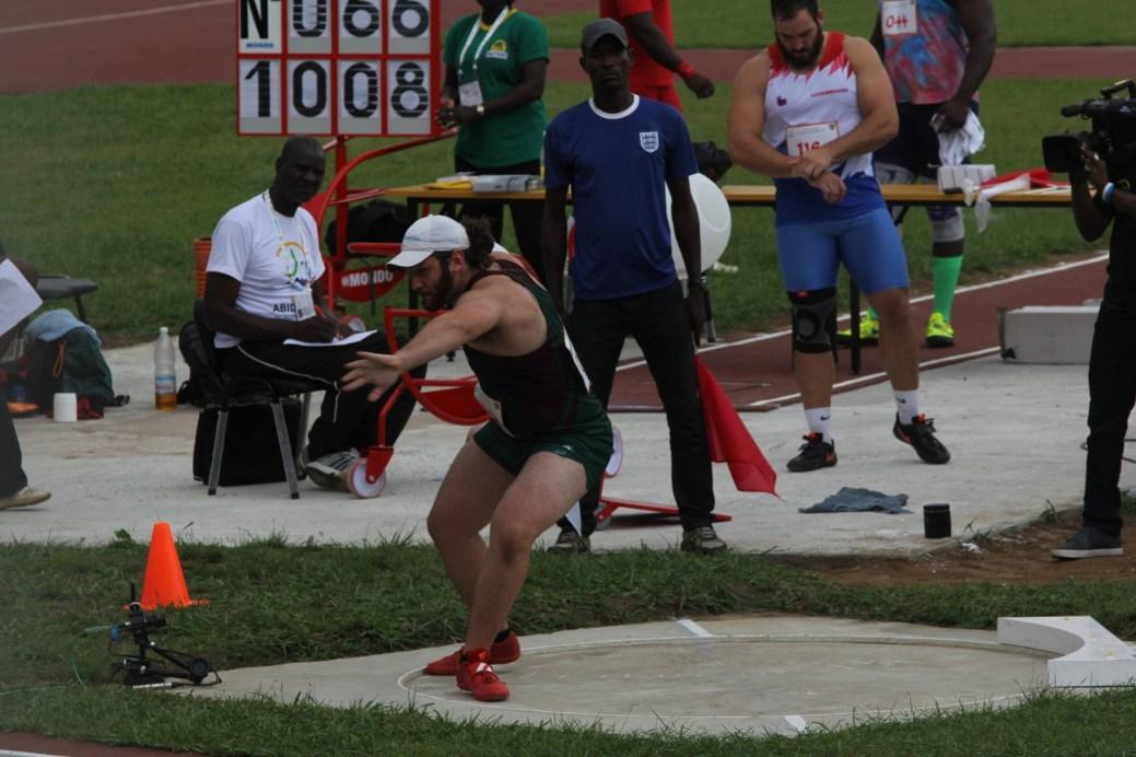 Jonathan Gionet a participé au concours du lancer du poids aux Jeux de la Francophonie, en Côte d'Ivoire. - Archives