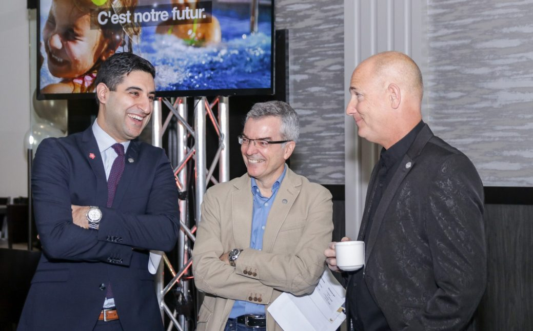 Thomas Raffy, Pierre-Marcel Desjardins et Jon Manship quelques instants avant la conférence de presse annonçant la création d'Excellence NB. - Acadie Nouvelle: Patrick Lacelle