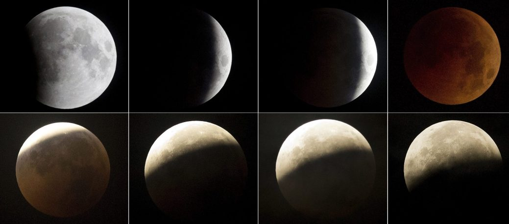 This combination of eight photos shows the different stages of the moon, from top left to bottom right, during a complete lunar eclipse, as seen from Hyderabad, India, Saturday, July 28, 2018. Curiosity and awe have greeted a complete lunar eclipse, the longest one of this century. (AP Photo/Mahesh Kumar A.)