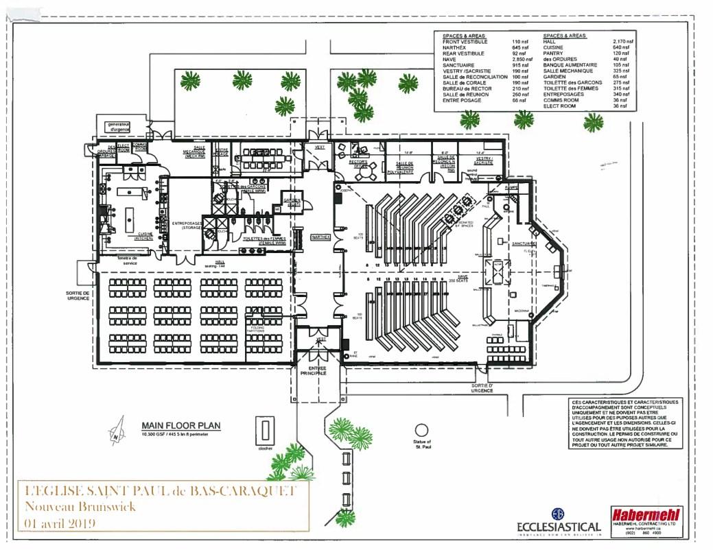 Les plans de l'intérieur de la nouvelle église Saint-Paul de Bas-Caraquet. La partie du lieu de culte et à droite, alors que la section de salle communautaire avec des équipements utiles en cas d'urgence sont à gauche. - Gracieuseté