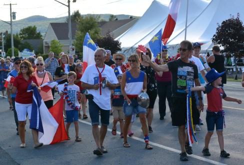 La fierté acadienne était bien palpable jeudi, en fin de journée, dans les rues d'Atholville. - Acadie Nouvelle Jean-François Boisvert