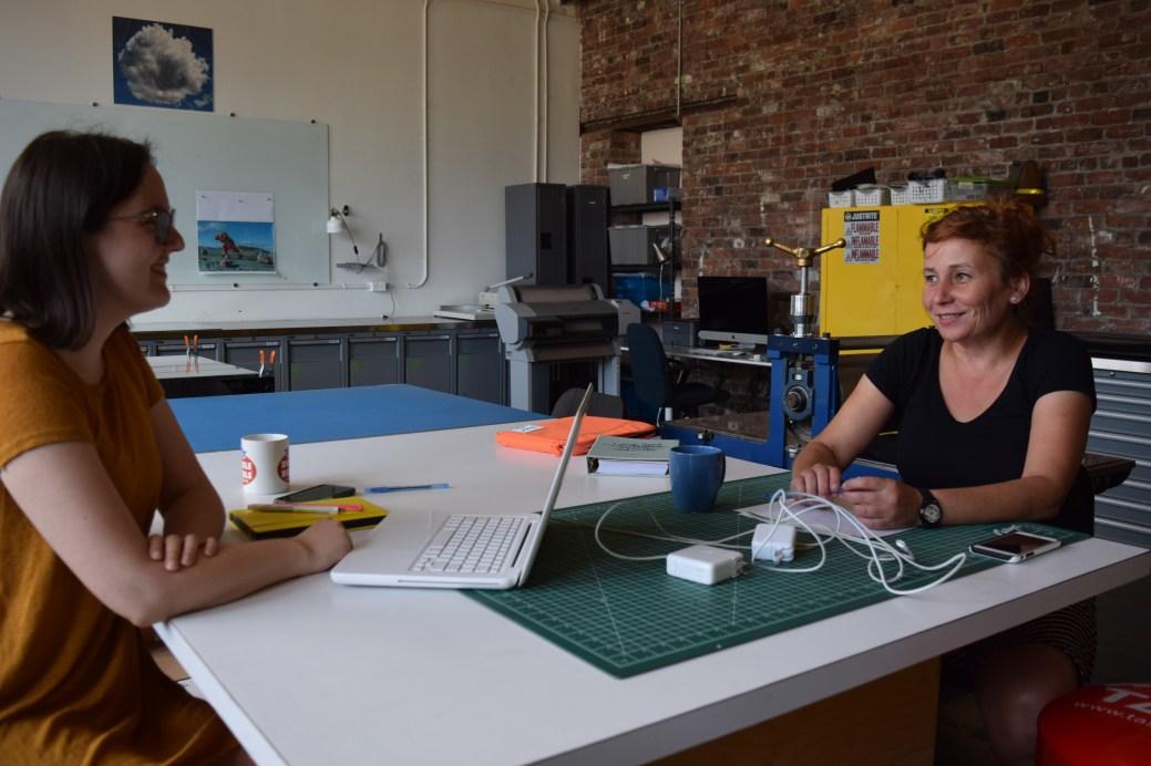 Christine Comeau et Jennifer Bélanger à l'Atelier d'estampe Imago à Moncton. - Acadie Nouvelle: Sylvie Mousseau