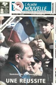 Le président français Jacques Chirac sur la couverture du 6 septembre 1999 de l'Acadie Nouvelle. – Archives
