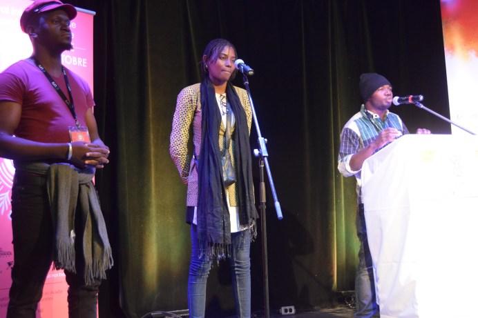 Aziz Siten'k, Mariam Kota et Dynamique Amion Saye lors de l'ouverture du Festival international de slam/poésie en Acadie. Acadie Nouvelle: Sylvie Mousseau