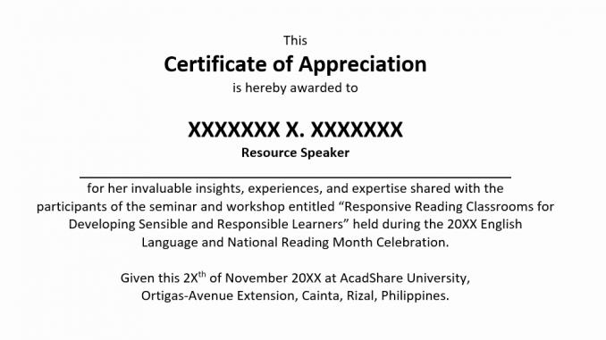 Sample Certificate of Appreciation  AcadShare