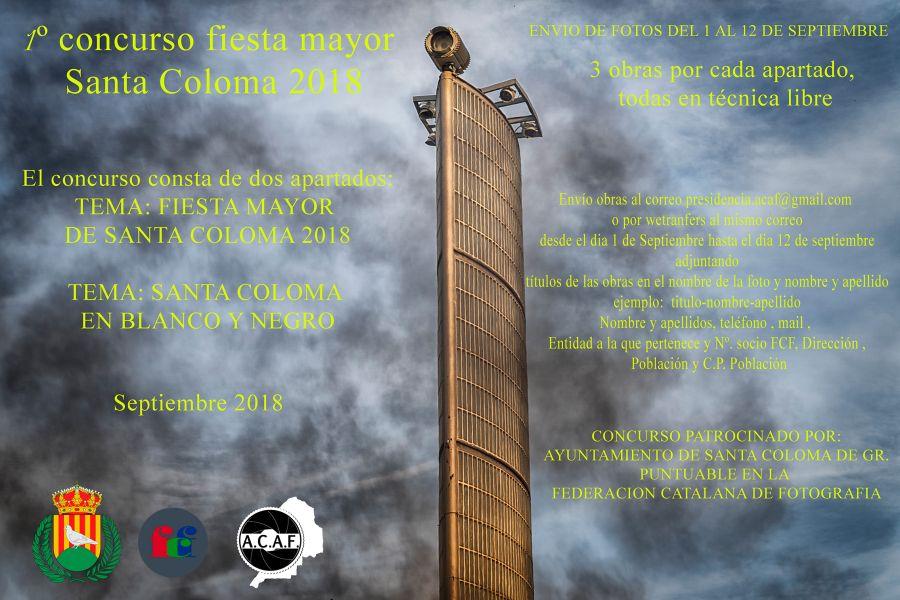 Primer concurso de fotografía ciudad de Santa Coloma ACAF 2018