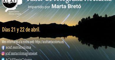Taller de fotografía de paisaje nocturno con Marta Bretó en ACAF Santa Coloma