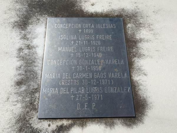 Placa mortuoria de Manuel Lugrís